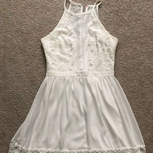 Francesca's Beautiful lace trim white dress